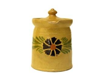 Pot à lait Soufflenheim avec couvercle. Crémier de grès peint à la main. Pichet Français rustique.