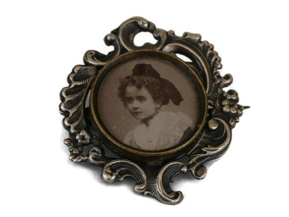 Antique Silver Photo Frame Brooch with French Girl Portrait, Victorian Miniature Memory and Mourning Jewelry Pin