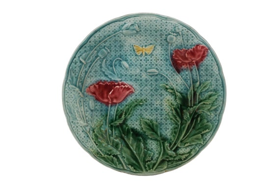 Majolica Poppy Flower and Butterfly Plate by Gien, Antique French Ceramic Wall Plate