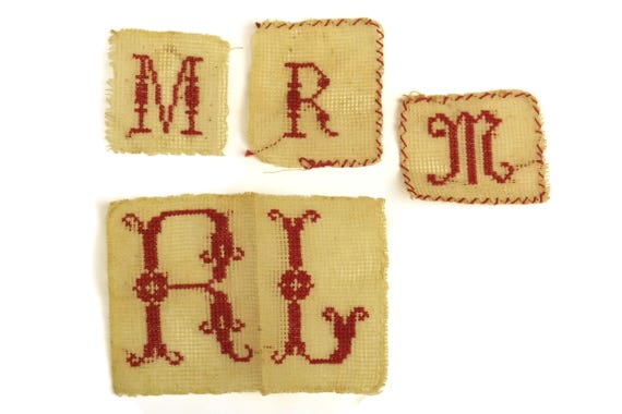 Antique Monogram Initials M R L . Redwork Sampler French Cross Stitch Alphabet Embroidery. Nursery Decor & Wall Art.