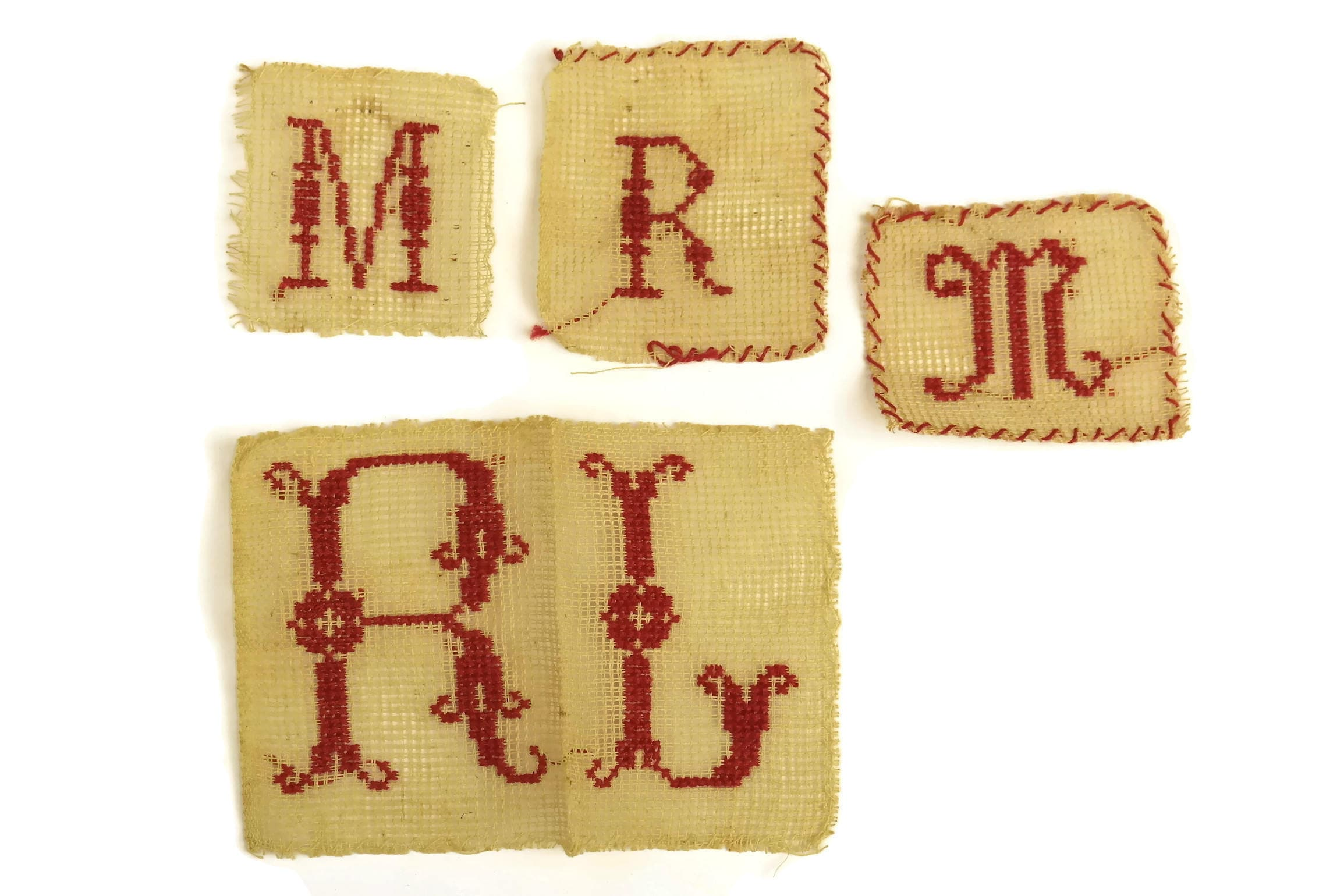 Antique Monogram Initials M R L Redwork Sampler French Cross