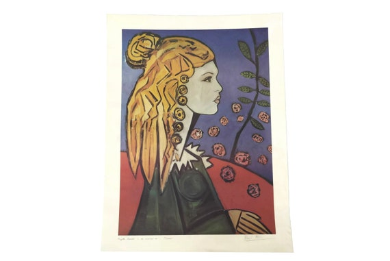 Brigitte Bardot Portrait Lithograph by David Stein in the Style of Picasso, Original French Art Print