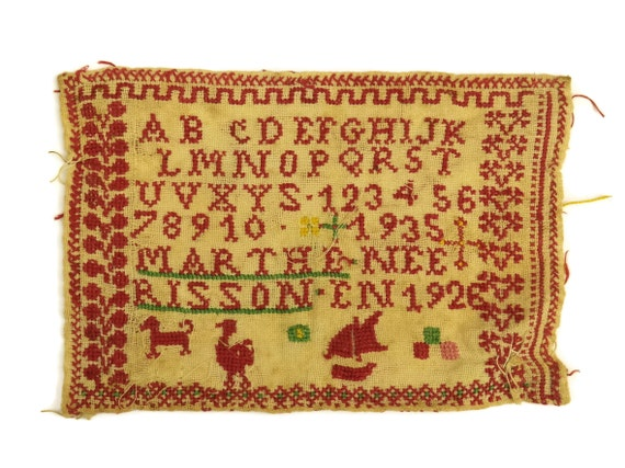 Cross Stitch Alphabet Redwork Sampler, 1930s French Antique Embroidery, Nursery Decor & Wall Art