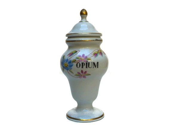 Opium Apothecary Jar, Hand Painted French Porcelain Pharmacy Bottle