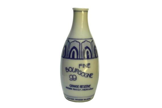Vintage French Porcelain Wine Bottle, Antonin Rodet Fine Bourgogne Liquor Carafe