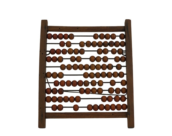 French Vintage Wooden Abacus with Counting Beads and Stand, Educational Counting Toy