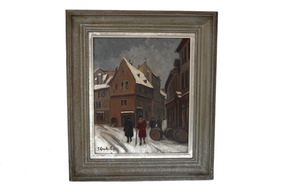 French Winter Street Scene Oil Painting by Jeanne Guyot Guillain, Snow Cityscape and Architecture Art
