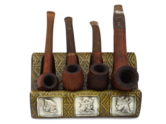 Ceramic Pipe Stand Rack with King Portrait Cameos and Vintage Briar Wood Pipe Collection