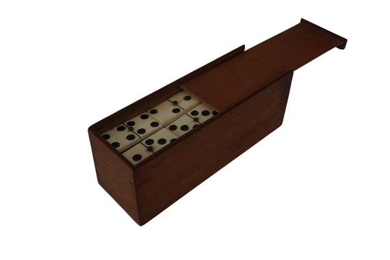 French Antique Domino Set in Wooden Box, Wood and Bone Tile Game