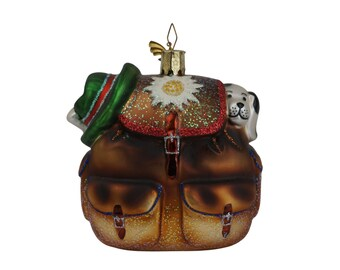 Vintage German Glass Christmas Tree Ornament with Dog in Back Pack by Kathe Wohlfahrt