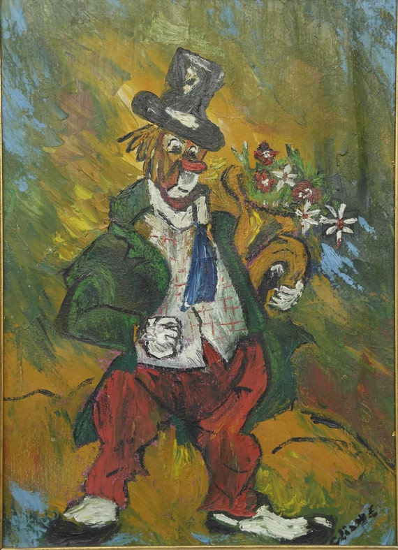 Mid Century Clown Oil Painting in Gold Frame, Kids Room Signed Wall art,  Circus Decor