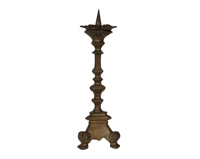 Antique Church Brass Candlestick Holder, French Altar Pillar Candleholder
