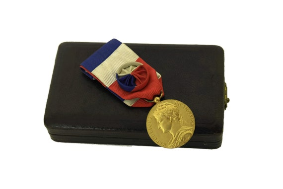 Vintage French Gold Medal Award with Tricolor Ribbon