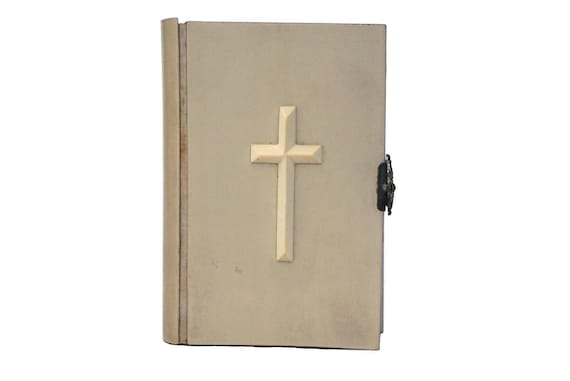 Antique French Prayer Book with Cross, Catholic Missel Romain Paroissien