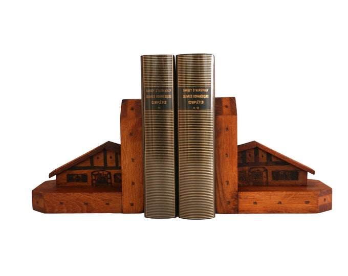 Hand Carved Wooden House Bookends, French Mountain Chalet Architecture Models, Office and Desk Decor