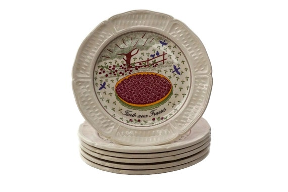French Porcelain Cocktail Plates with Fruit Tarts, Set of 6 Gien China Cake Plates