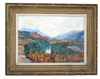 French Mountain Valley Landscape Painting, Original Country Scenic Art