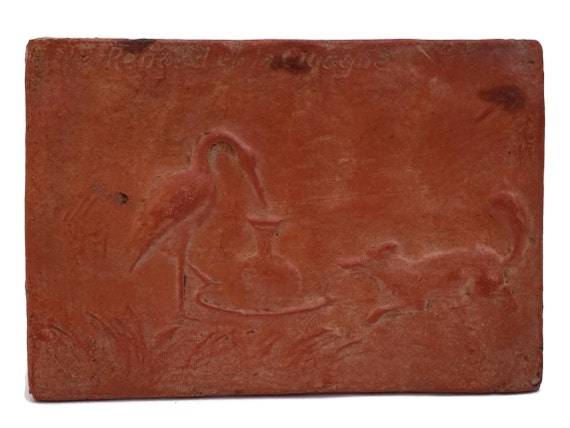 La Fontaine Fables Wall Hanging Plaque of The Fox and The Stork, Antique Terracotta Bas Relief Tile, French Book Lover Gift
