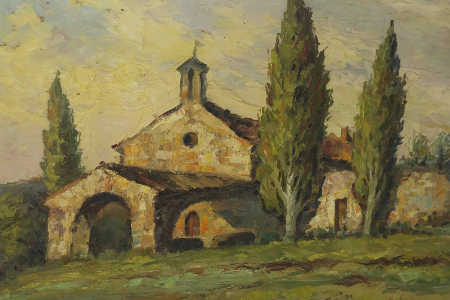 French Country Church Painting Rustic Oil Of Provence