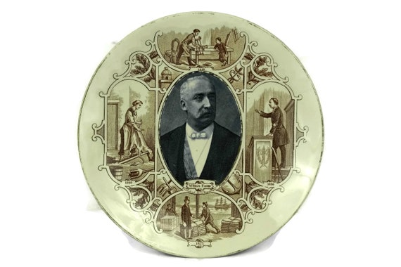 Antique French Faience Wall Plate, President of France Felix Faure Portrait, Sarreguemines Decorative Plate, History lover Gift