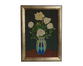 French Rose Flowers Still Life Painting, Art Deco Floral Bouquet Art