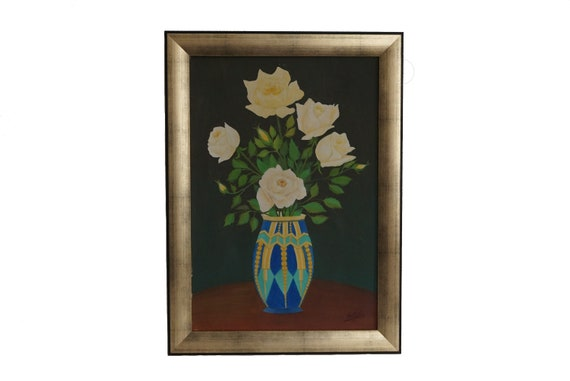 French Rose Flowers in Art Deco Vase Still Life Painting, Floral Bouquet Art
