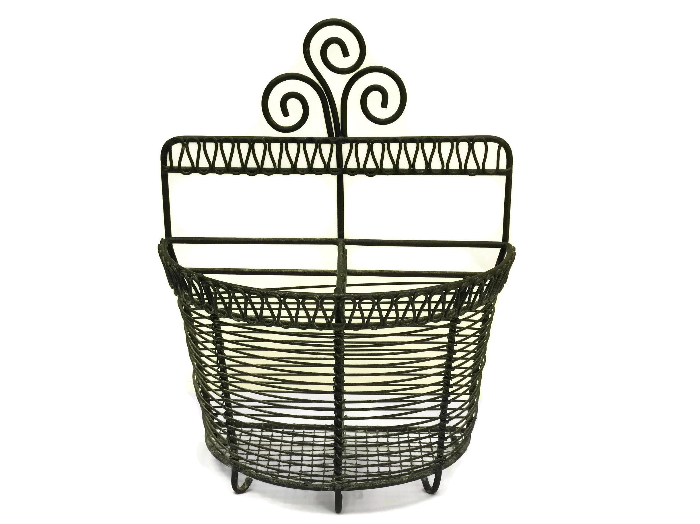 Vintage French Garlic Basket Rustic Country Kitchen Decor