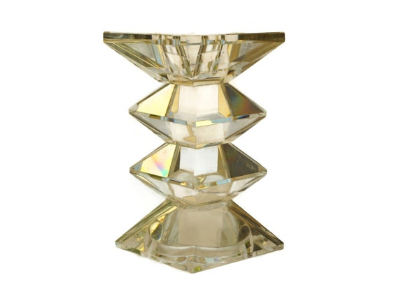 Stacked Crystal Prism Candlestick, Modernist Geometric French Candle Holder