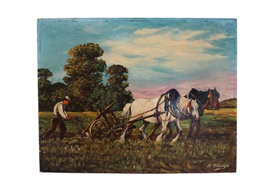 Farmer and Horses Ploughing Field Painting, French Country Farm Landscape Art