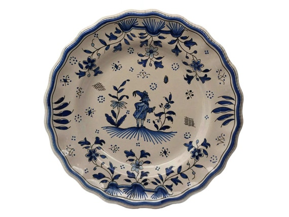 French Faience Blue and White Kitchen Wall Plate, Hand Painted Moustiers Ceramic Dish