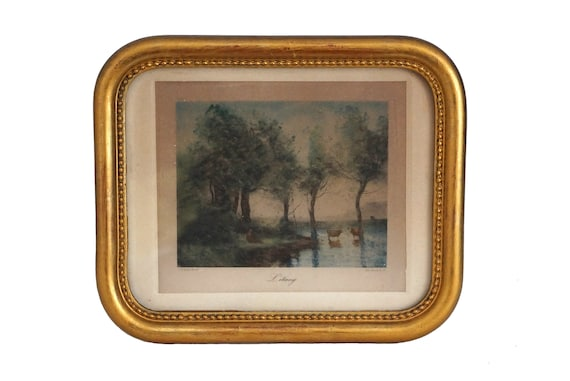 Antique Country Landscape with Cows Art Print, French Engraving of L'Etang by Corot in Gold Frame