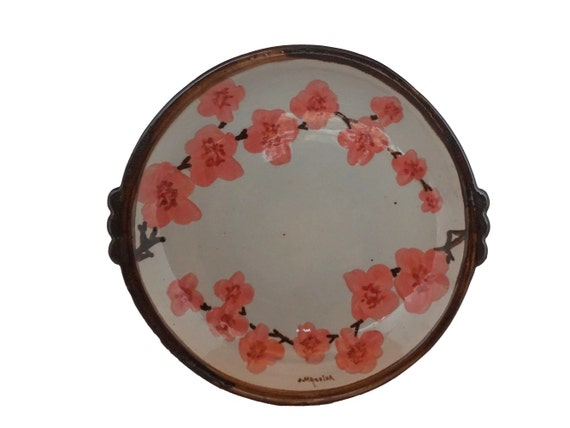 French Pottery Cherry Bowl by Jerome Massier, Hand Painted Flower Blossom Dish