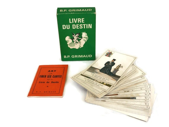 The Book of Destiny Tarot Cards by B.P. Grimaud, Fortune Telling Game Card Deck, French Vintage Cartomancy and Esoteric Gifts