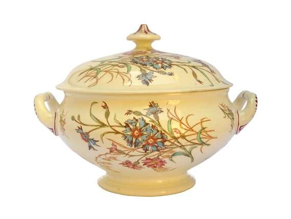 Antique Transferware Soup Tureen with Lid, Luneville French Ceramic Dinnerware Serving Bowl