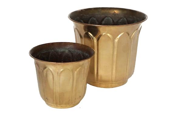 Vintage Brass Planter Pair, Graduated Metal House Plant Pots