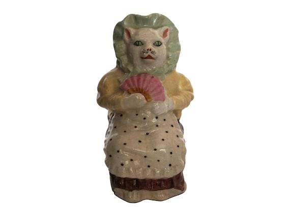 Antique Ceramic Cat Figurine Smash Money Box, St Uze French Pottery Piggy Bank