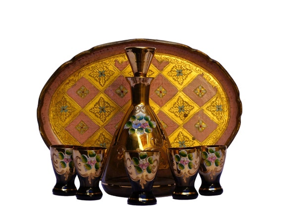 Murano Glass Decanter Set with Florentine Drinks Tray, Vintage Italian Venetian Bar Decor and Gifts