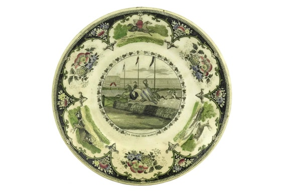 Antique Steeplechase Transferware Wall Plate