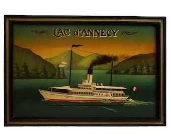 Steam Boat Nautical Wall Sign, Vintage French Lake and Landscape Art
