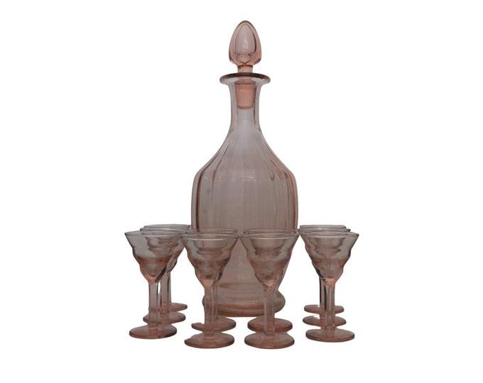 Art Deco Decanter and Shot Glass Set, Antique Pink Depression Glassware, French Liquor Bottle Barware Decor