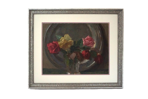 French Rose Flowers in Vase Painting, Antique Floral Bouquet Still Life Art