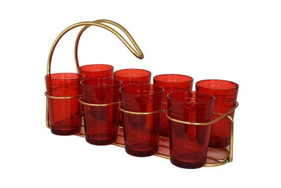 MCM Bar Set with Carrier and 8 Glasses, Mid Century Barware and Cocktail Decor