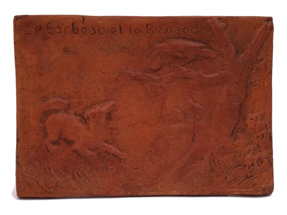 La Fontaine Fables Wall Hanging Plaque of The Raven and The Fox