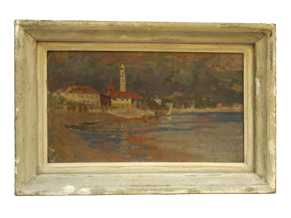 Harbor and Sailing Boat Painting, Original French Mediterranean Coastal Art