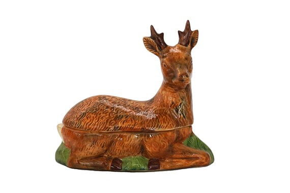 French Majolica Deer Tureen, Woodland Kitchen Terrine and Christmas Table Decor
