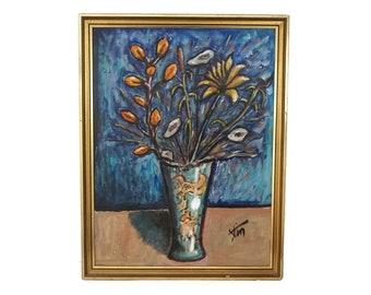 RESERVE pour Matou. Mid Century Flower Painting, Modernist Floral Still Life Art Signed Stim