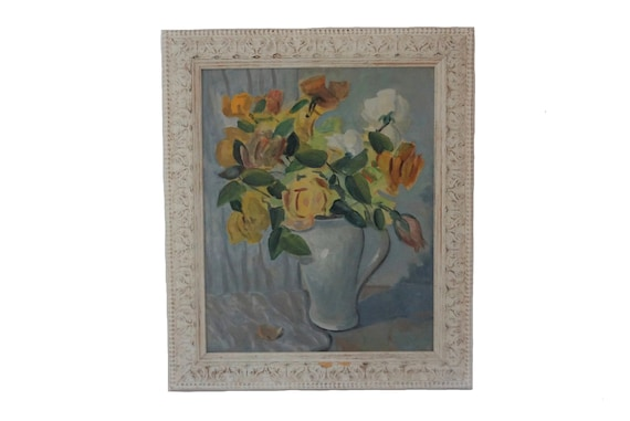 Yellow Roses Flower Still Life Painting, French Floral Bouquet Art