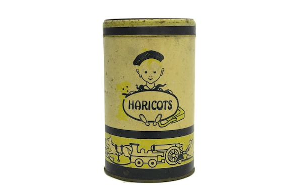 French Vintage Elesca Tin Box. Instant Chocolate Milk Drink Box. Bean Storage Container. Collectible Tin Canister. Shabby Kitchen Decor.