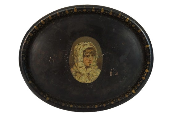 Antique French Tole Tray with Lady Portrait, 19th Century Toleware