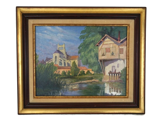 Vintage French Landscape Oil Painting, Country Farm Cottage and Church, Framed Original Signed Art